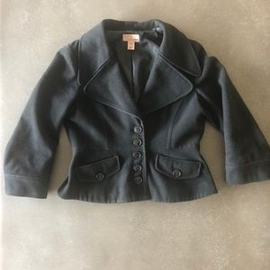 H&M cropped black wool pea coat 3/4 sleeves size 4